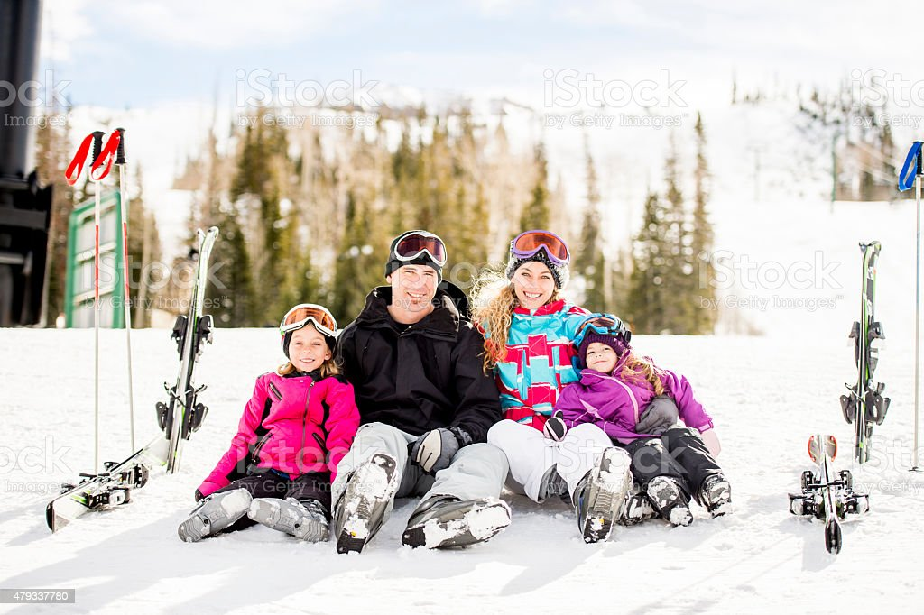 Family Ski Vacation stock photo