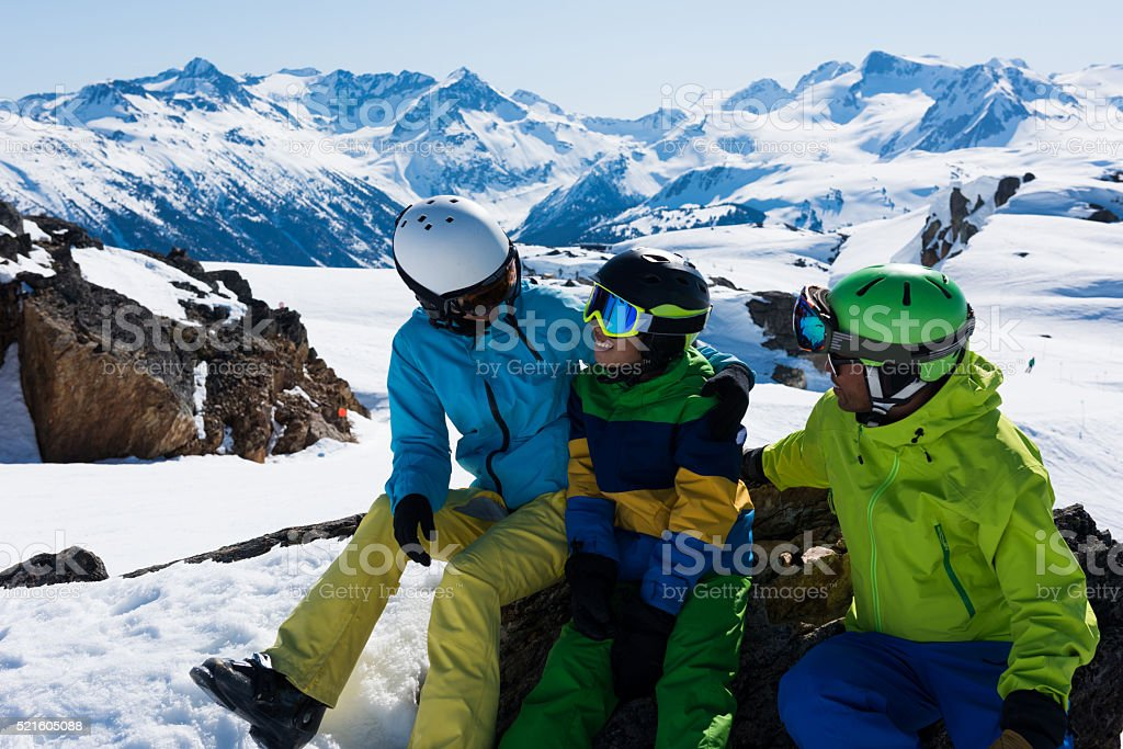 Family ski vacation stock photo