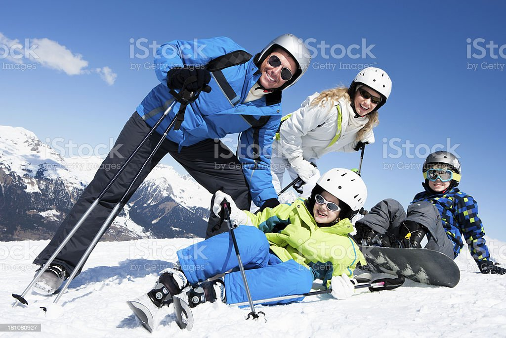 Family Skiing Pose royalty-free stock photo