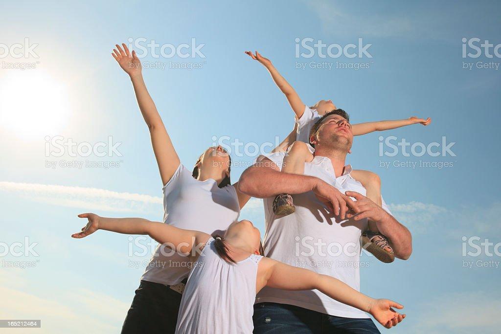 Family Sky - All Hand Up royalty-free stock photo