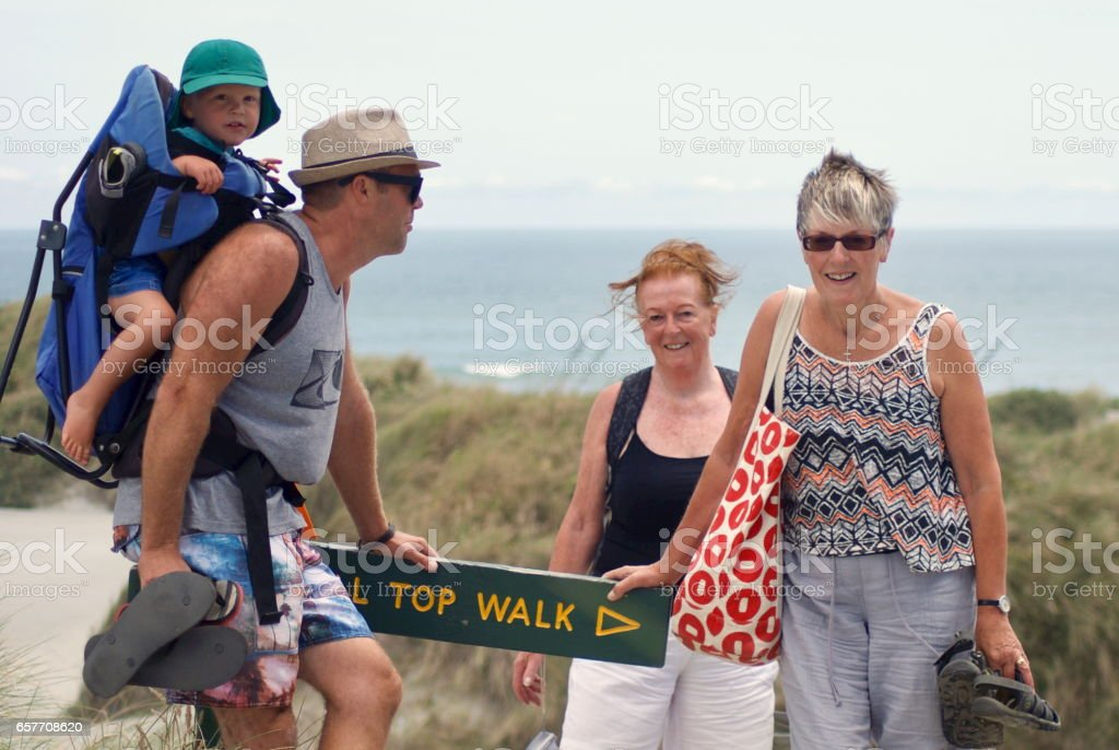 Family Smiles for the Camera at Viewpoint stock photo