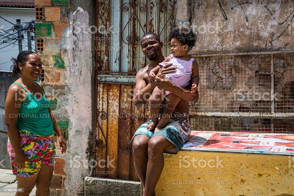 Family smiling, Salvador, Bahia, Brazil stock photo