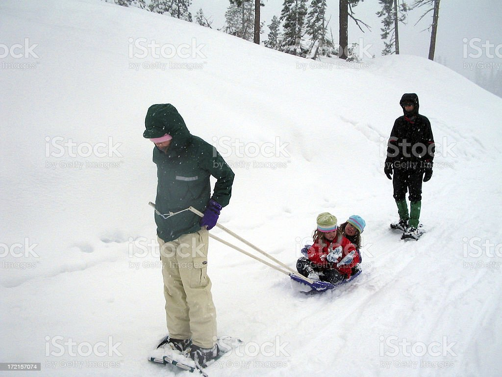 Family Snowshoeing royalty-free stock photo