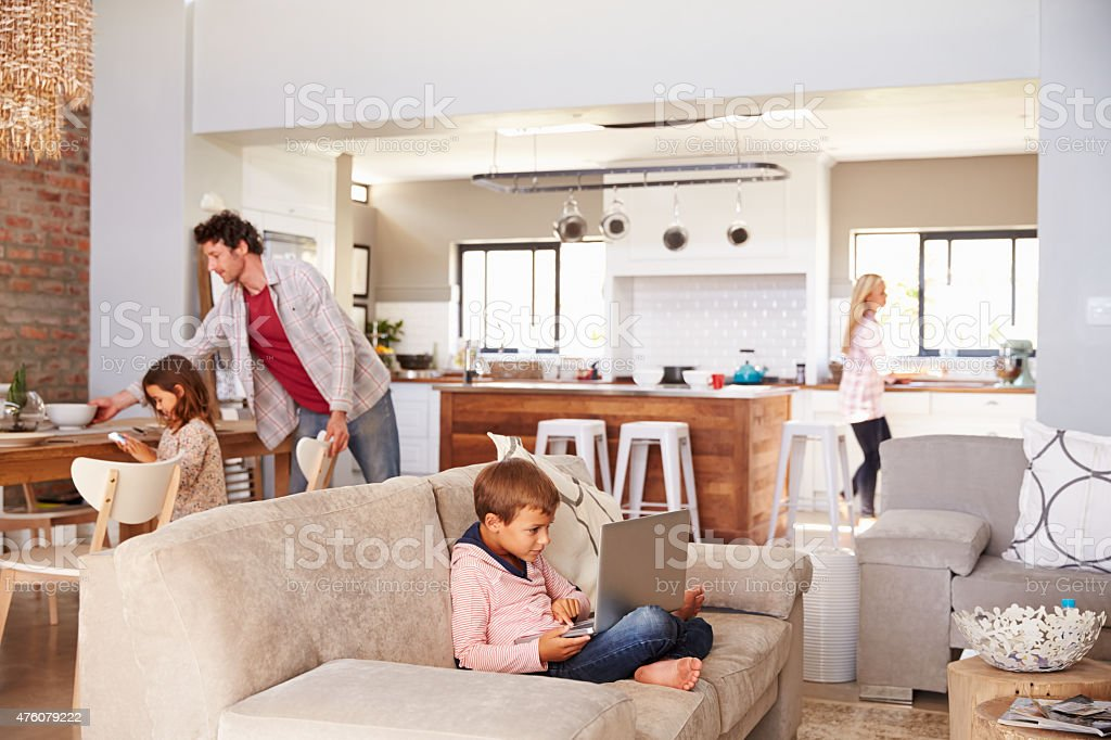 Family spending time together at home stock photo