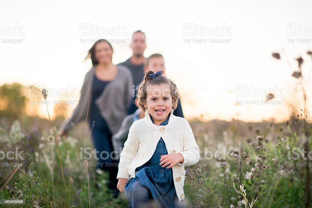 Family Spending Time Together Outdoors stock photo