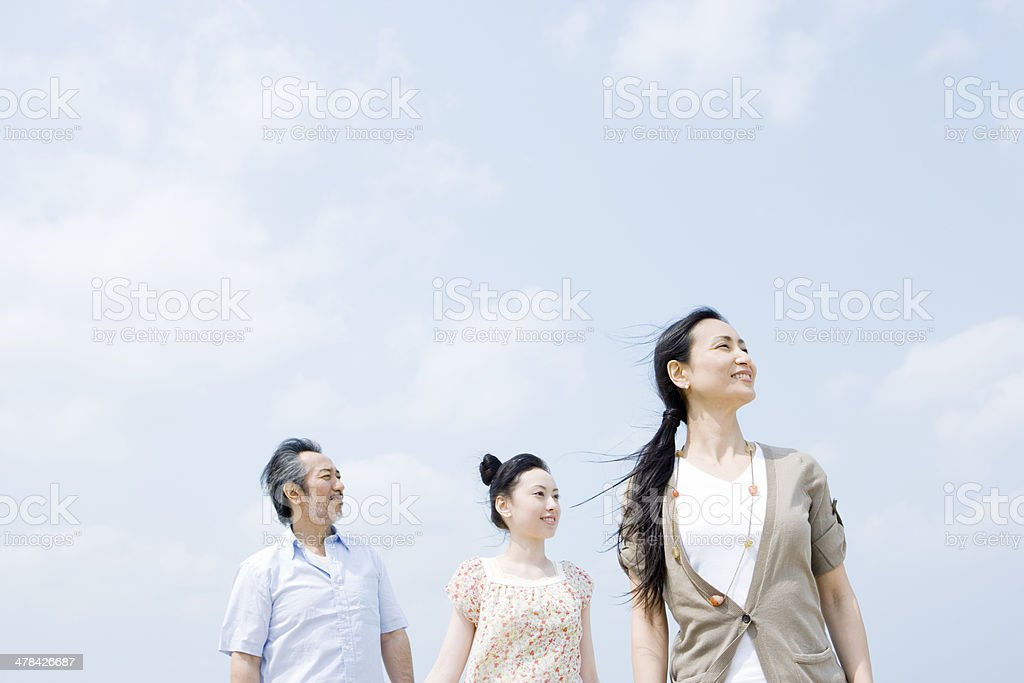 Family standing with their back against sky royalty-free stock photo