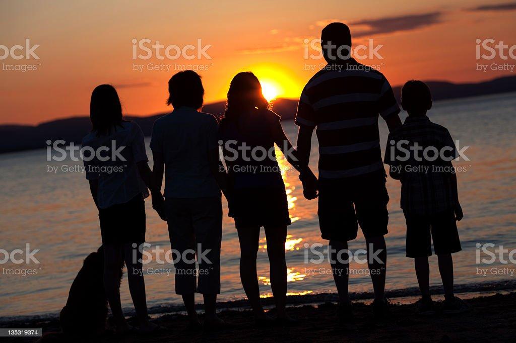 Family Sunset Back Lit royalty-free stock photo