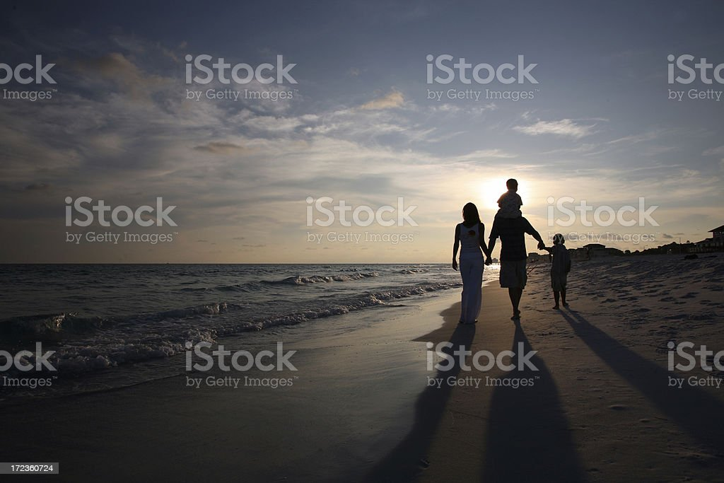 Family Sunset Walk stock photo