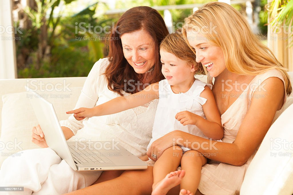 Family Surfing The Web royalty-free stock photo