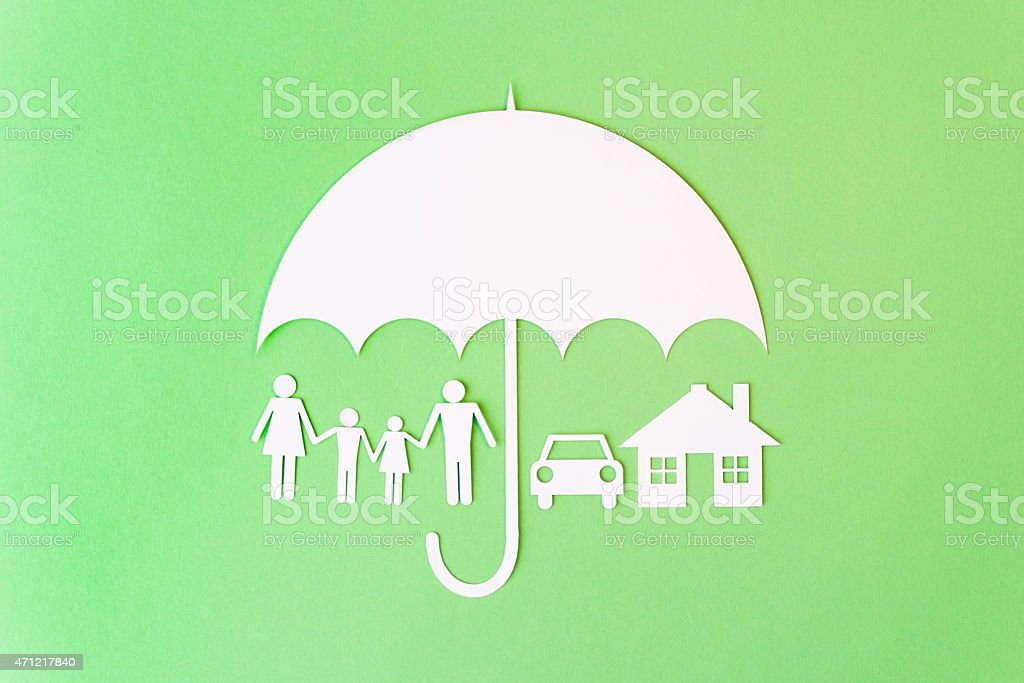 Family symbols under Umbrella stock photo