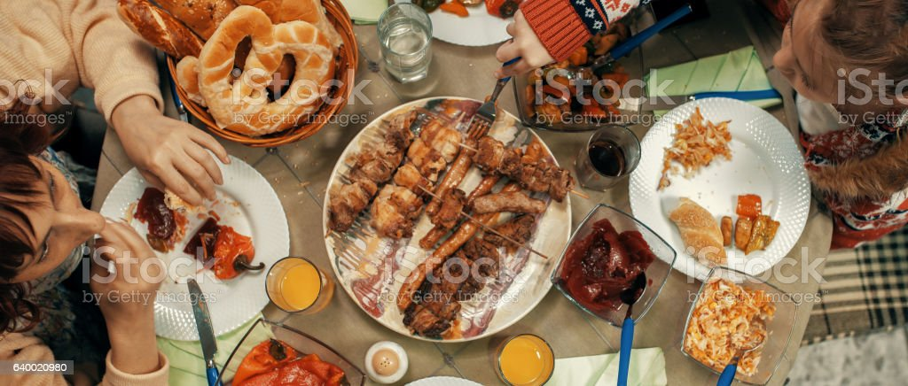family table for holiday foods stock photo