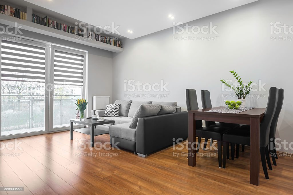 Family table in living room stock photo