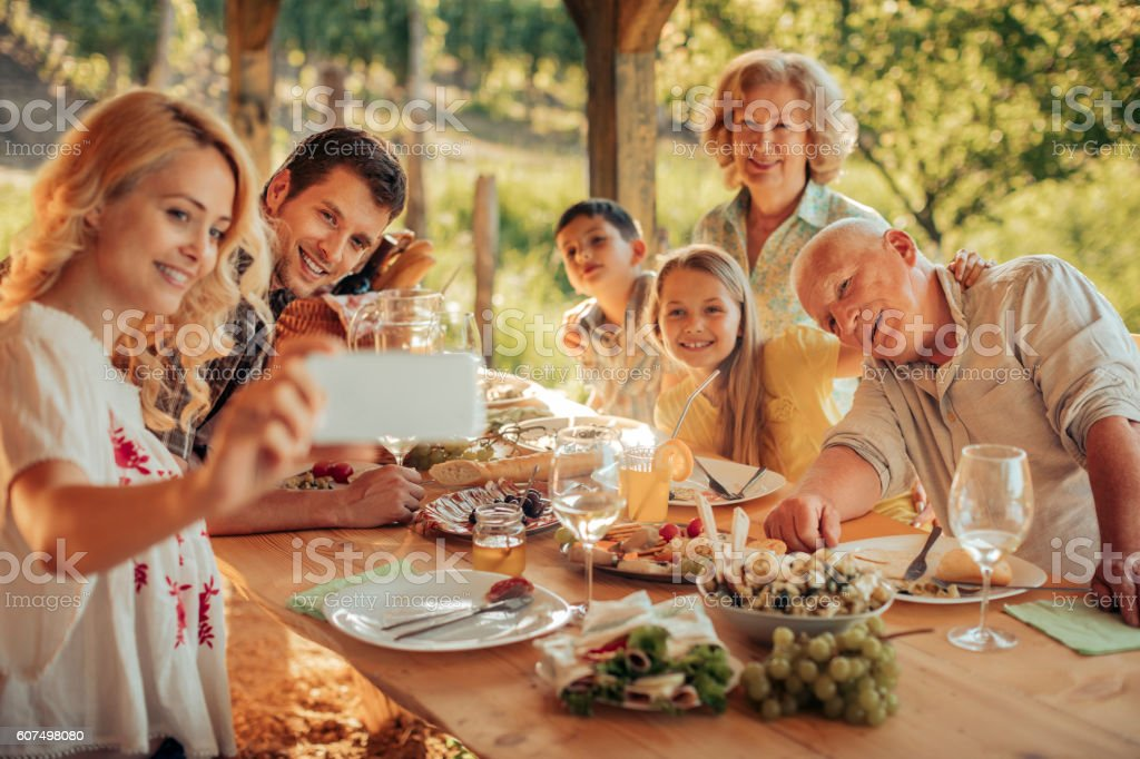 Family taking a selfie at a picnic stock photo