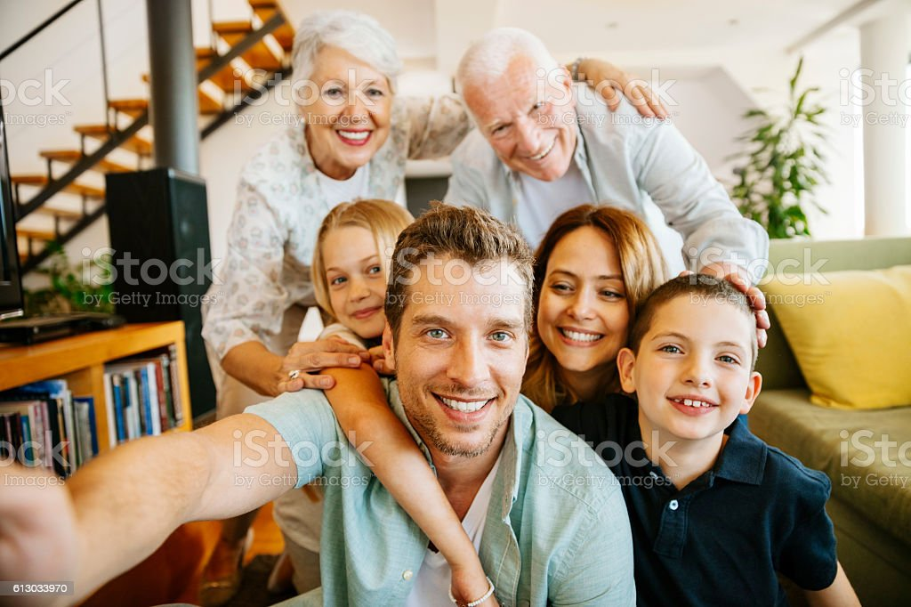 Family taking a selfie stock photo