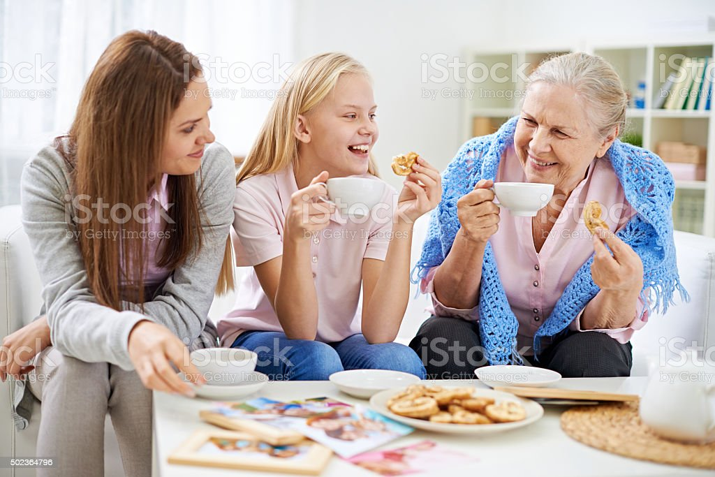 Family tea-drinking stock photo