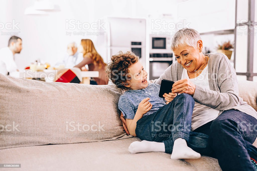 Family Texting stock photo