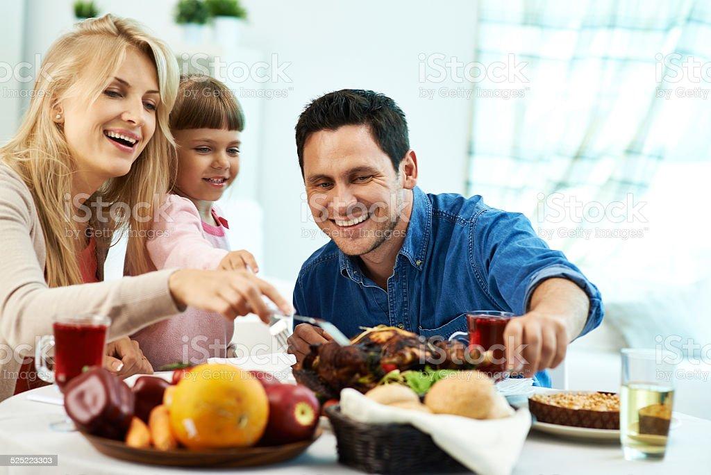 Family Thanksgiving dinner stock photo
