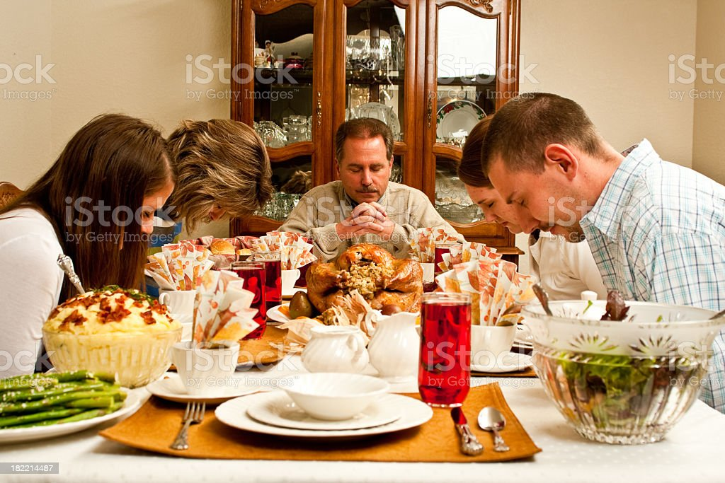 Family Thanksgiving Prayer royalty-free stock photo