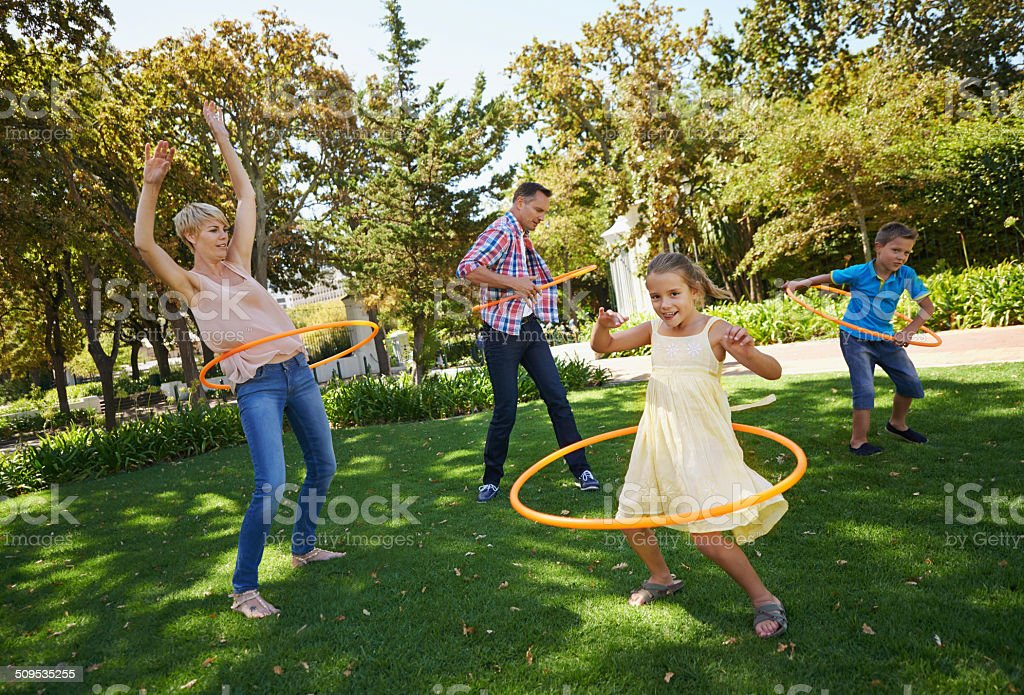 Family that plays together stays together stock photo