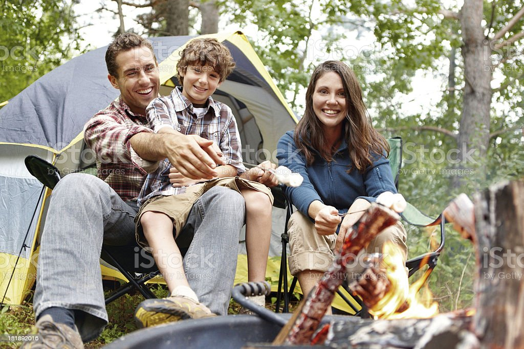 Family time at the campsite stock photo