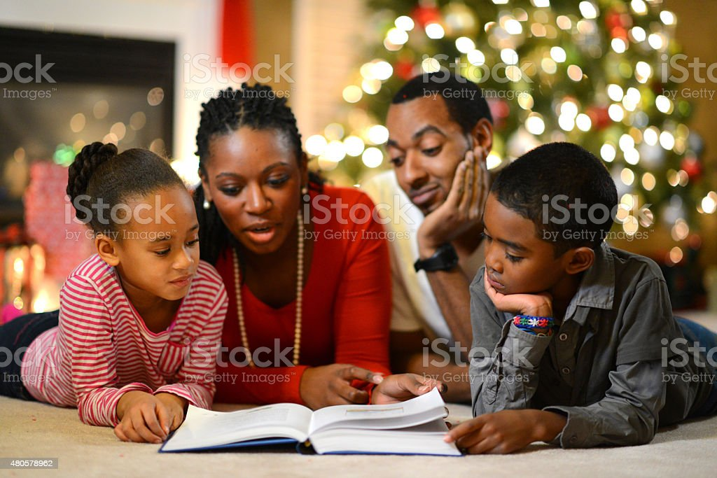 Family Time on Christmas Eve stock photo