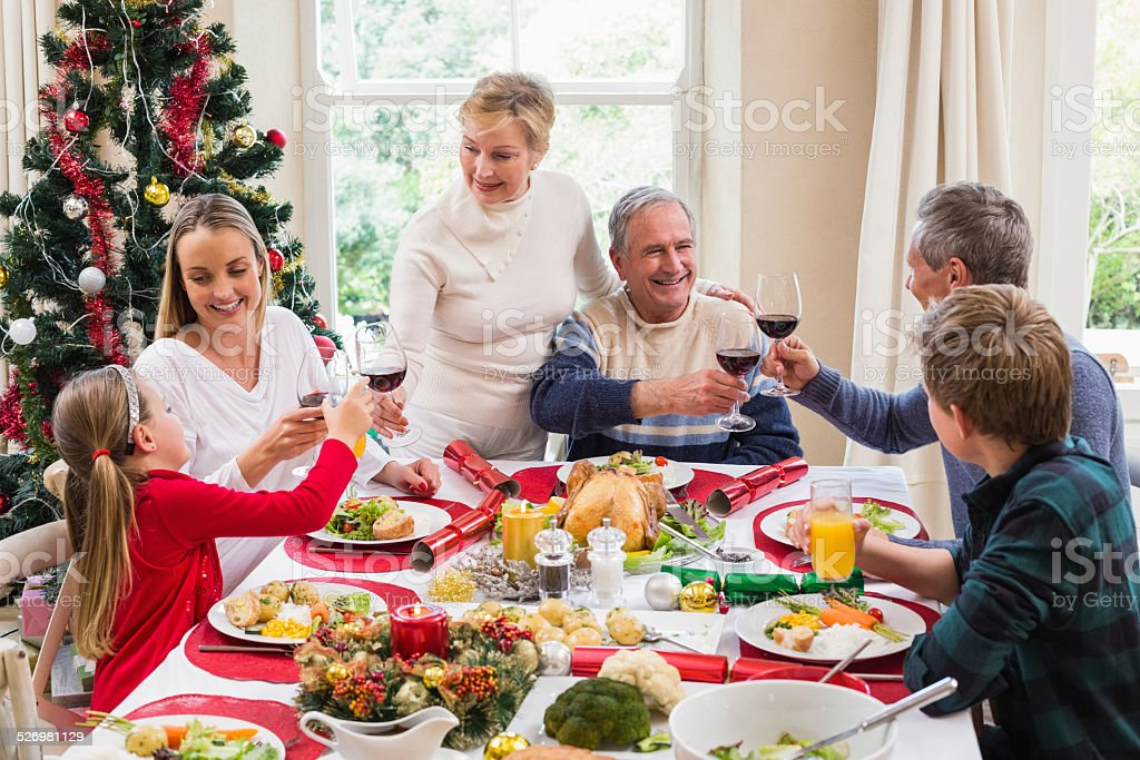 Family toasting with red wine in a christmas dinner stock photo