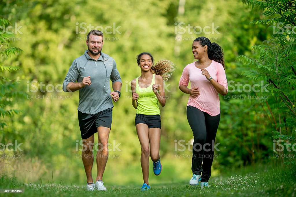 Family Trail Running stock photo