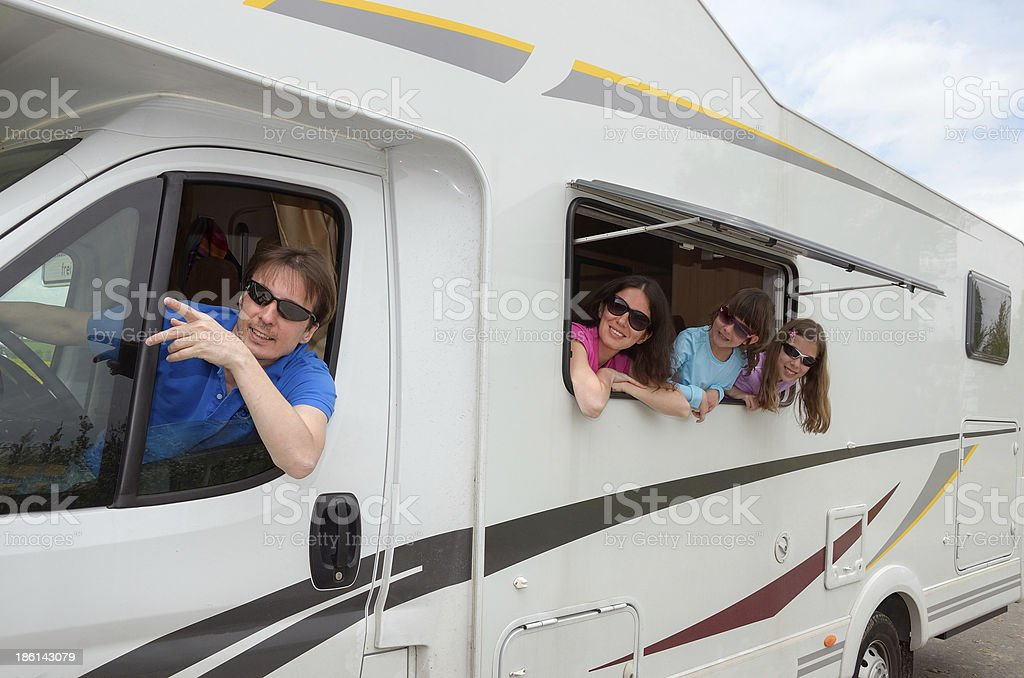 Family travel in motorhome (RV) on vacation royalty-free stock photo