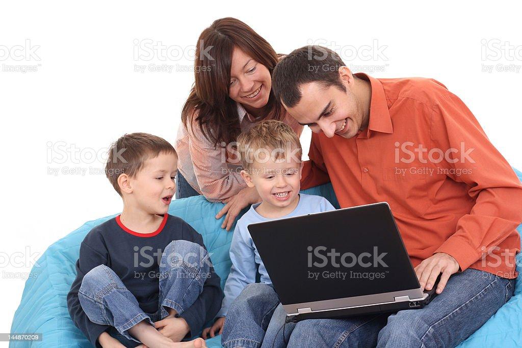family using laptop royalty-free stock photo