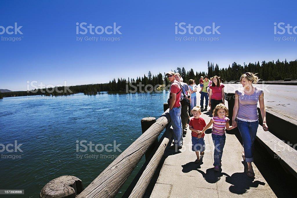 Family Vacation at Fishing Bridge Yellowstone National Park. stock photo