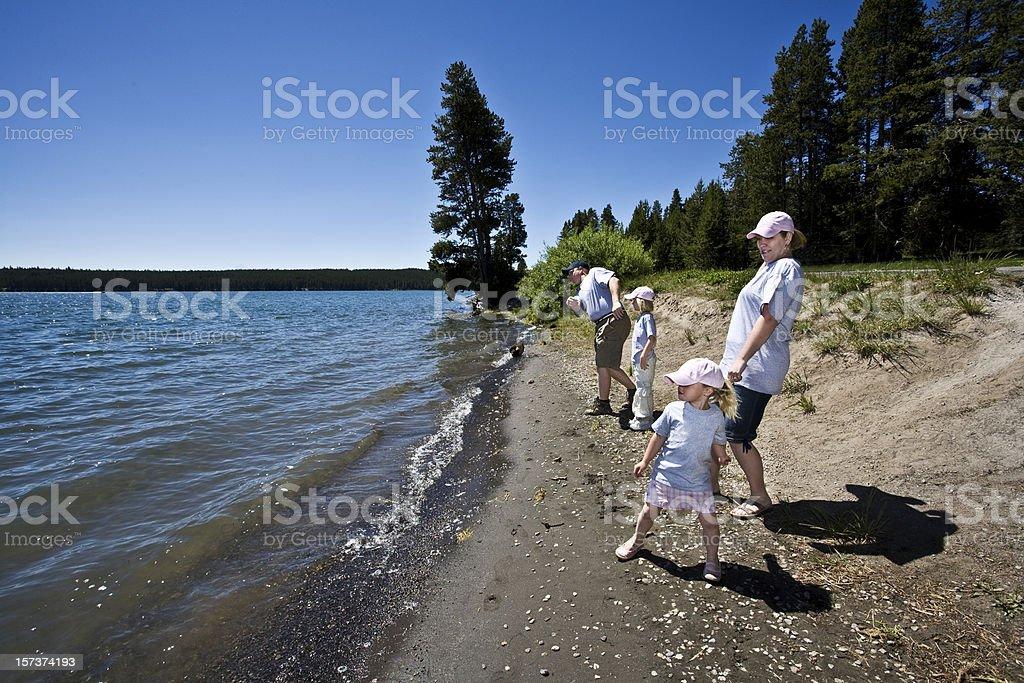 Family Vacation at Yellowstone Lake. stock photo