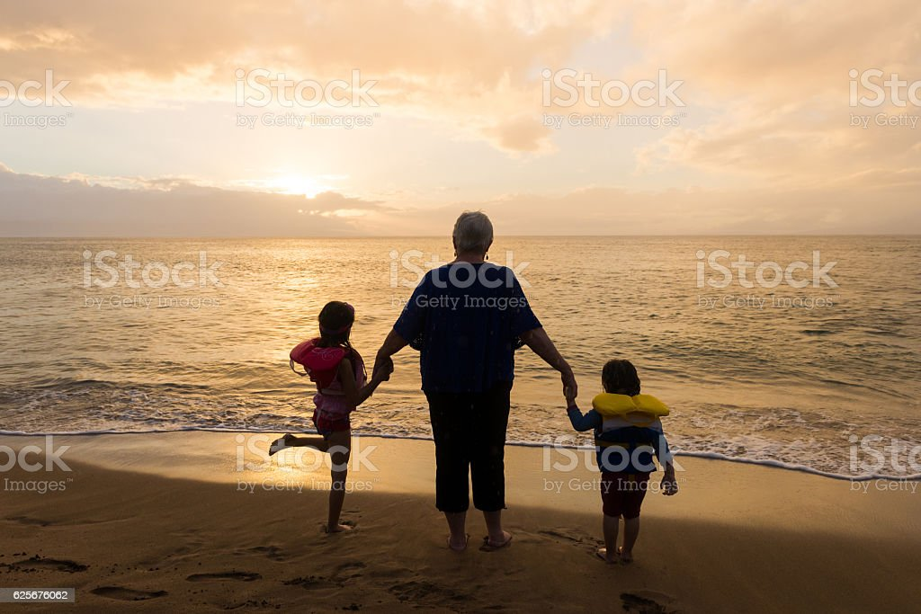Family vacation by the sea stock photo