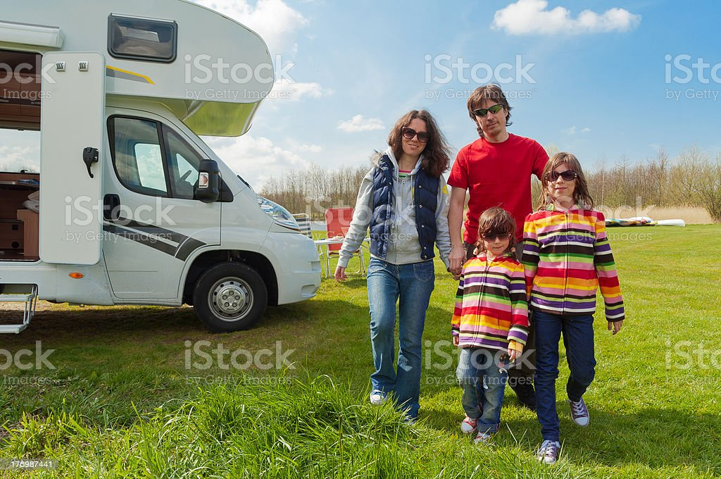 Family vacation in camping. Trip on camper (motorhome) royalty-free stock photo
