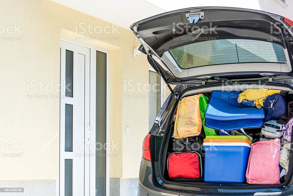 Family vehicle packed stock photo