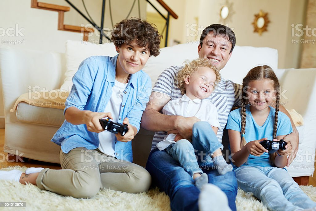 Family video game competition stock photo
