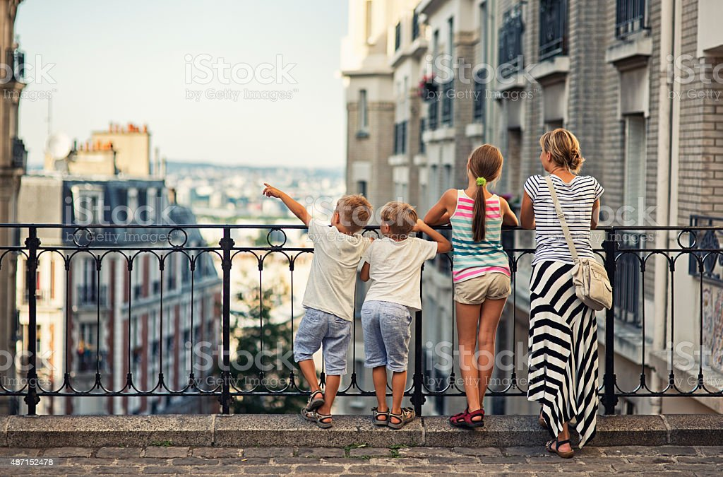 Family visiting Paris, Montmartre stock photo