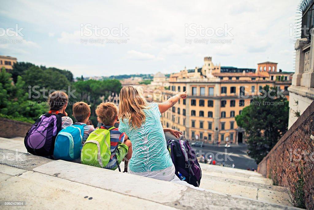 Family visiting Rome, Italy stock photo