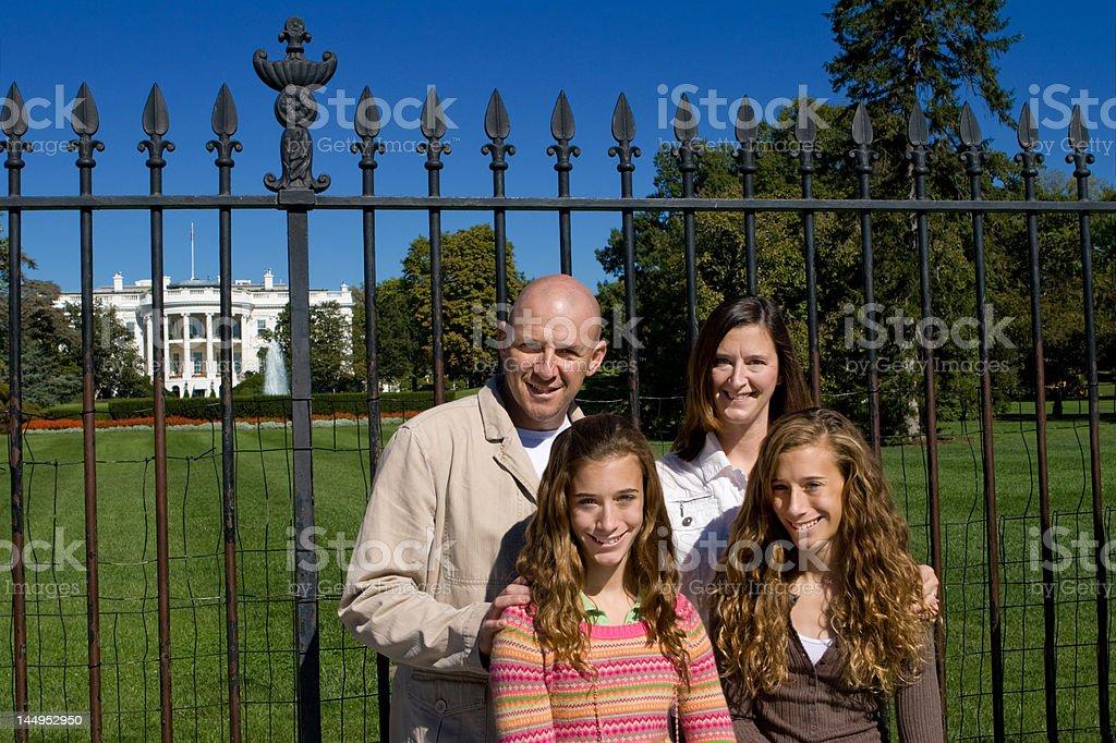 Family Visiting White House, Twin Girls, Mom, Dad, Washington, DC royalty-free stock photo