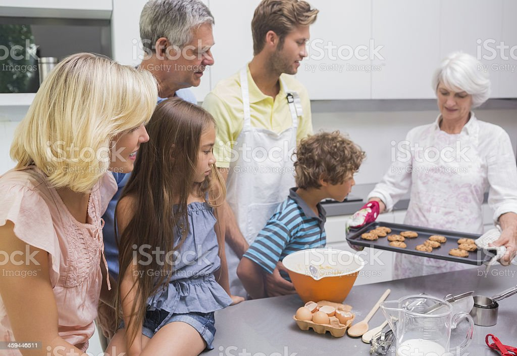 Family waiting for cookies royalty-free stock photo