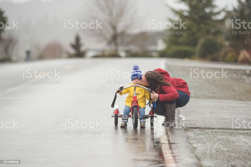 Family Walk in the Rain stock photo