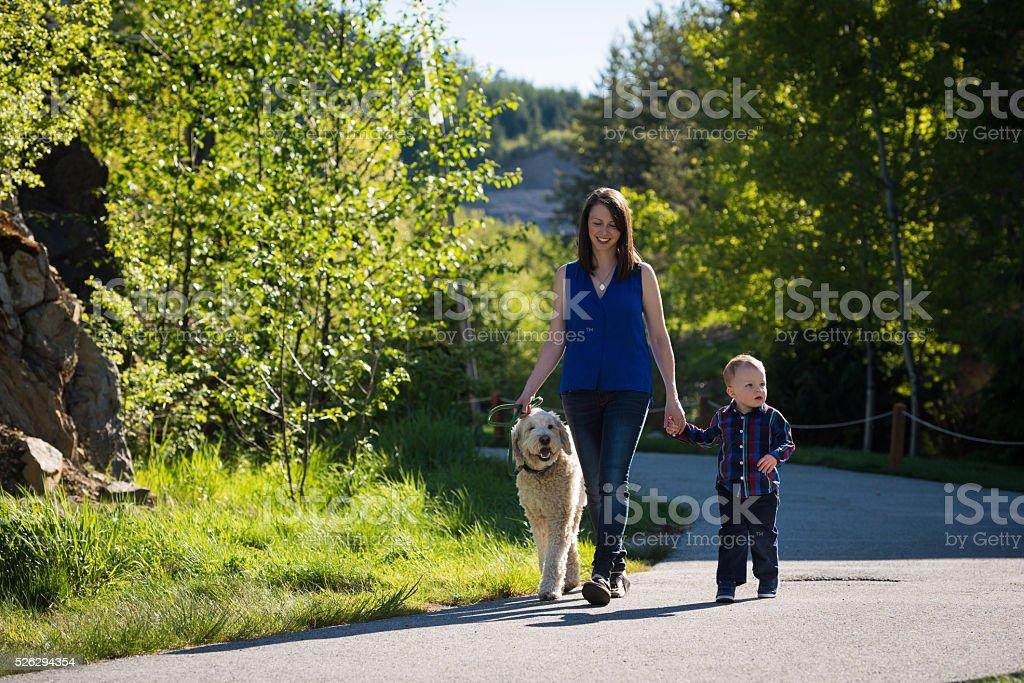 Family walk stock photo