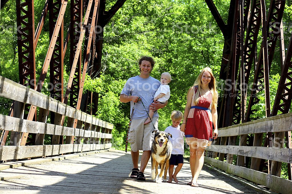 Family Walking Across Bridge stock photo