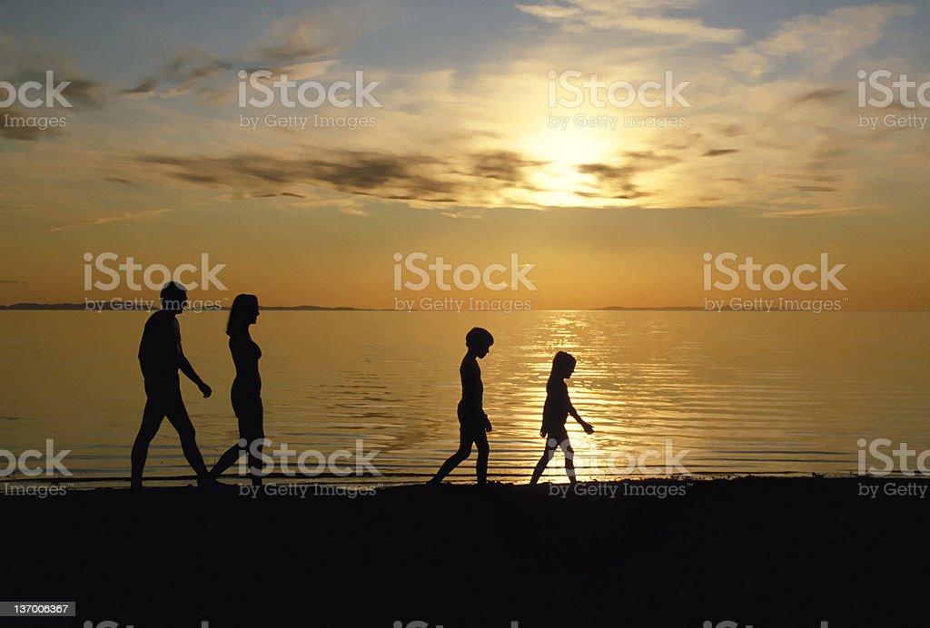 Family Walking Beach 2 royalty-free stock photo
