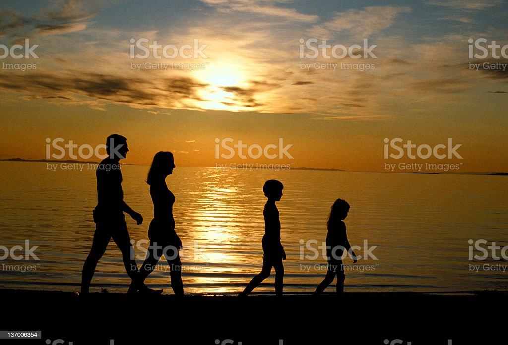 Family Walking Beach royalty-free stock photo