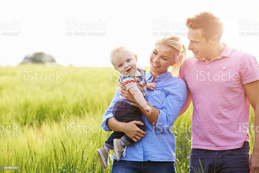Family Walking In Field Carrying Young Baby Son stock photo