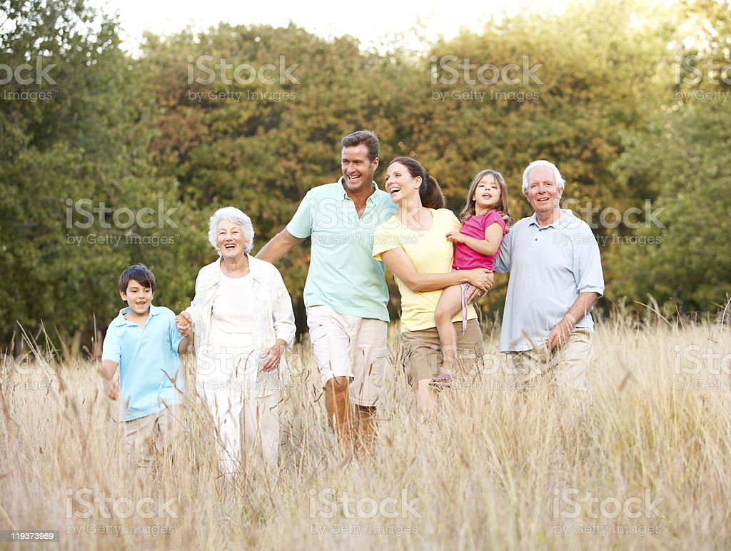 Family Walking in Park royalty-free stock photo