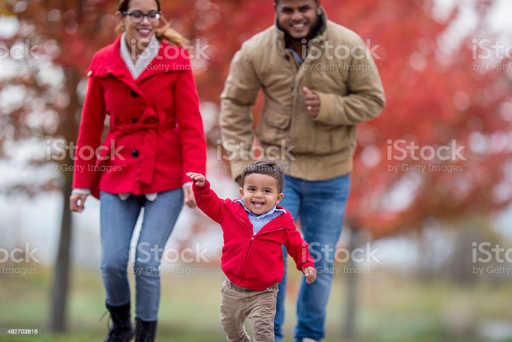 Family Walking on a Fall Day stock photo