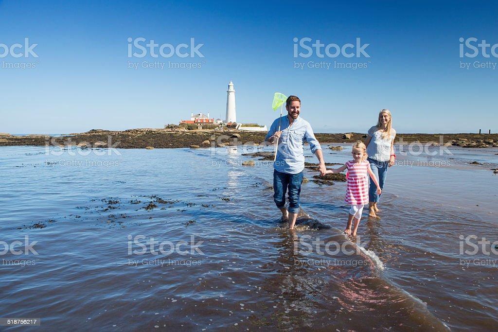 Family Walking Through the Sea stock photo