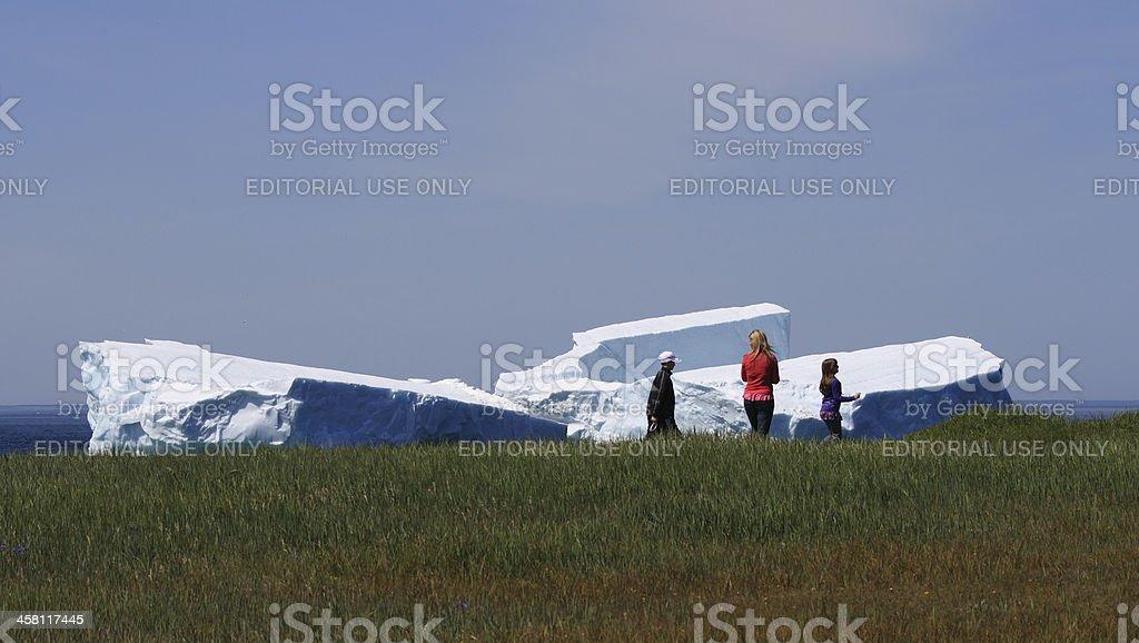 Family Walks Past Icebergs in Goose Cove stock photo