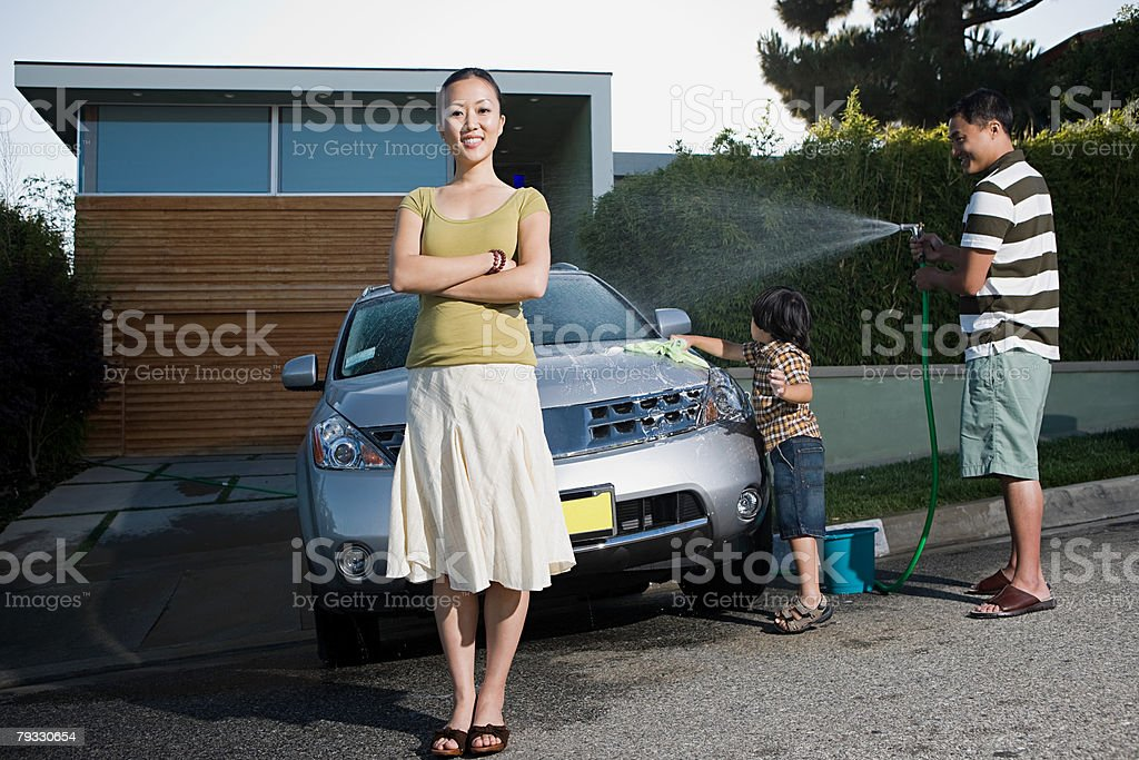 Family washing car royalty-free stock photo